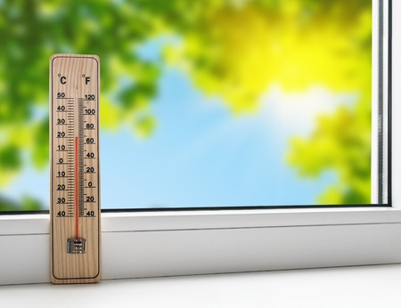thermometer at the double glazed window