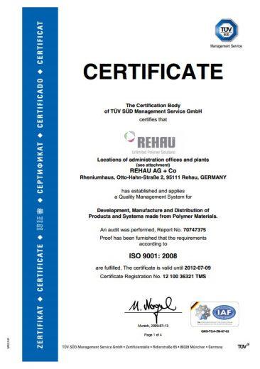 Rehau certificate 2