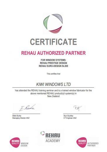 Rehau certificate
